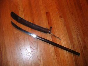 [SMA65] Japanese Samurai Sword:  Kunisuke Naginata in Modern Mount