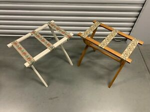 """2 Luggage Stand/Suitcase Racks """"SCHEIBE"""" Folding Wood  With Tapestry Straps- VTG"""