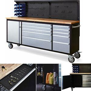 Werkbank inkl. Räder 2,13 m Werktisch Werkzeugschrank 10 Schubladen Montagebank
