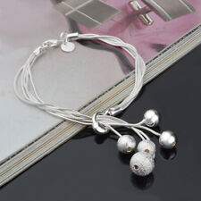 Fashion Jewelry Multilayer Charm Beads Pendant 925 Silver Bracelet Bangle Gift