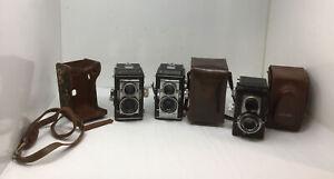 2 Ansco Automatic Reflex Twin Lens TLR Camera f 3.5 83 mm LENS & Cairo-flex F