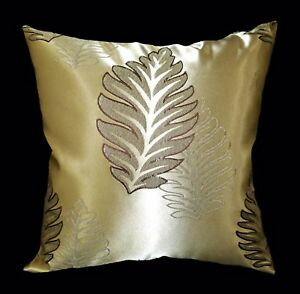 HC325a Light Bronze Gold Deep Brown Floral Jacquard Cushion Cover/Pillow Case