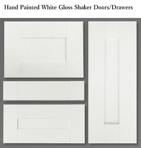 KITCHEN BASE WALL SHAKER DOOR DRAWER FRONTS WHITE GLOSS PAINTED ALL SIZES