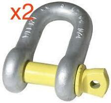 D SHACKLE / BOW SHACKLES RATED WLL 1 TONNE x 2 YELLOW PIN GRADE S Tow Bar Hayman