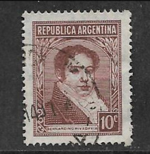 ARGENTINE POSTAL ISSUE - FAMOUS ARGENTINES USED 10c DEFINITIVE 1935 -RIVADAVIA