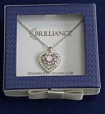 Necklace Swarovski Crystal Heart Pendant 20-inch Sterling Silver  jw405