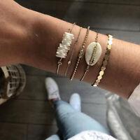 5Pcs/Set Ladies Gold Shell Natural Stone Crystal Opening Bangle Chain Bracelet