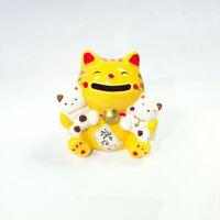 Hucha Gato Japonés Amarillo Familia 85mm Porcelana Del Japón Maneki Neko 40579