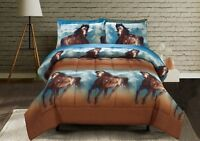 HIG 3D Running Texas Wild Horse Printed Box Stitched Breathable Comforter Set