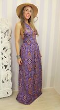 Vintage 1970s Paisley Halter Maxi Party Floor Sweeping Boho Blogger Dress 10