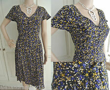 NEW EX M&S COLLECTION BLACK BEIGE DITSY FLORAL SUMMER FIT FLARE TEA DRESS 8 - 20