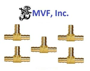 """Hose Barb Tee for 1/2"""" ID Hose Brass 3-Way Fitting Fuel Water (5-Pack) <HBT2-08"""