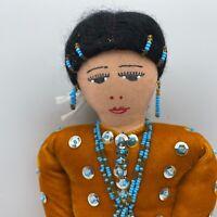 """Vintage Navajo Handmade Cloth Doll Mustard Dress 13"""""""