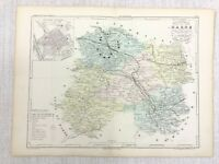 1853 Antique French Map Chalons Champagne Region France Hand Coloured Engraving