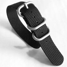 3-Ring Black Watch Strap, Military-Style Nylon Band with Matte Finish Buckle