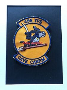 Original oldie USAF 496th Tactical Fighter Squadron embroidered patch on twill
