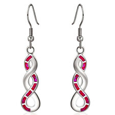 Beautiful Women White Gold Created red Fire Artificial Opal CZ Dangle Jewellery