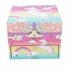 Girls Musical Jewellery Box Pink Unicorn with Star Mirror Birthday Present Gift