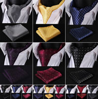 Hisdern Classic Polka Dot Men Silk Cravat Ascot Tie Pocket Square Wedding Set B3
