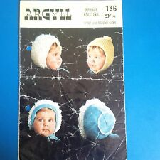 Ladyship 4329 Vintage Baby Knitting Pattern 0-6 months QK//Sports Hats Bonnets