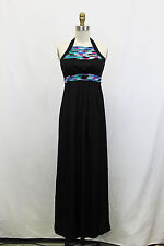 NWOT- BCBG Black Maxi Empire Waist Full Length Halter Dress with Neon Accents- 2