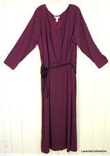 Jessica London 26 Plum Purple Comfy Stretch Knit Belted Maxi Long Tunic Dress