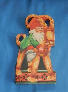Vintage Scandinavian Eliasson Die Cut Fold Out Christmas Garland Tomte Gnome