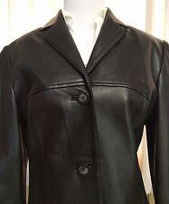 Womens Leather Jacket Full Grain Lamb Skin Black S/M Blazer Gianna Lorenzi Italy