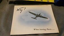 """1930's Paris ,Rare Card Advertising  """"AIR FRANCE"""" Why? When Leaving Paris....."""