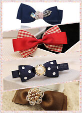4 Hair Clips Blue pocket red  brown