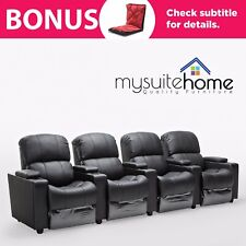 Sophie Leather 4 Seater Home Theatre Recliner Sofa Lounge with Cup Holders