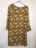 Women's Size Medium Old Navy Mustard Yellow Floral Bell Sleeve Dress NWT