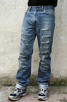 LEVIS 521 MENS DENIM FRAYED JEANS STRAIGHT LEG SIZE W32 L34 Blue Cotton Red Tab