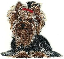"""2 3/4"""" x 3"""" Yorkshire Terrier Dog Breed Red Bow Embroidery Patch"""