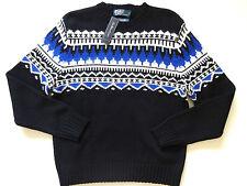 New Ralph Lauren Polo Black & Blue Nordic Cotton Blend Crewneck Sweater XXL