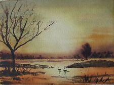 "BARBARA F SUTTON AUSTRALIAN WC ""BLACK SWANS IN A LAKE AT GOLDEN SUNSET"" C 1985"