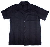 Positano Mens Short Sleeve Button Front Textured Black Shirt Size Small