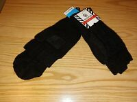 Womens Isotoner SherpaSoft Knit Convertible Fingerless Gloves/Mittens Black New