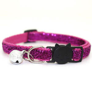cat glitter collars breakaway safety with bell adjustable 19-32 cm, 1cm wide