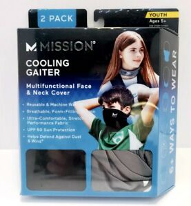 Mission Cooling Neck Gaiter Face/Neck Cover Youth Age 5+ Black/Charcoal 2-pack