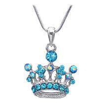 Aqua Blue Princess Royal Crown Tiara Pendant Necklace Girl Fashion Jewelry