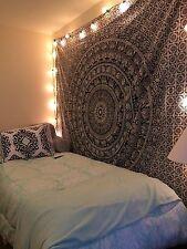 Hippie wall hanging bohemian throw queen black & white elephant gift beach sheet