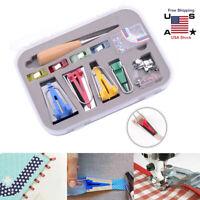 US Bias Tape Maker Kit Set for Sewing Quilting Awl & Binder Foot Case Tools DIY