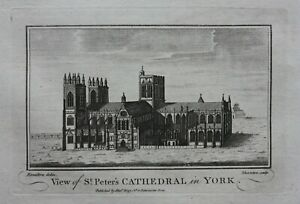 YORK MINSTER, ST PETER'S CATHEDRAL, YORK, original antique print, Boswell, 1786
