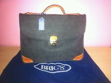 BRIC'S LEATHER WORK BAG BORSA A MANO TRACOLLA PELLE VERDE GREEN DIVISORI INTERNI