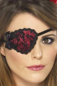 Pirate Eyepatch In Red And Black Female Fancy Dress Accessory