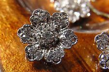 5 x gorgeous rhinestone flower buttons