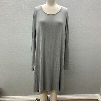 Old Navy Shift T-Shirt Dress Women's XXL Gray Knit Flowy Scoop Neck Long Sleeve