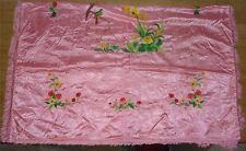 Oriental Pink Silky Embroidered Duvet Quilt Cover Bedspread Finge Asian Bird