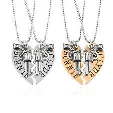 Bonnie Clyde Unique Pistol Gun Heart Best Friend Lover Necklace